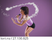 Купить «Young woman singing with microphone against purple background and magic sparkle», фото № 27130825, снято 23 мая 2018 г. (c) Wavebreak Media / Фотобанк Лори