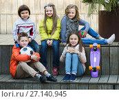 Купить «Portrait of junior school kids», фото № 27140945, снято 20 июня 2018 г. (c) Яков Филимонов / Фотобанк Лори