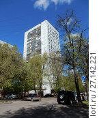 Семнадцатиэтажный панельный жилой дом серии КМС-101, построен в 1977 году. Измайловский бульвар, 18. Район Измайлово. Москва (2017 год). Редакционное фото, фотограф lana1501 / Фотобанк Лори