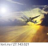 Купить «Plane in sky», фото № 27143021, снято 19 октября 2018 г. (c) Яков Филимонов / Фотобанк Лори