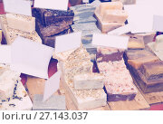Купить «Assortment of personal care natural fragrant soaps for sale», фото № 27143037, снято 23 февраля 2019 г. (c) Яков Филимонов / Фотобанк Лори