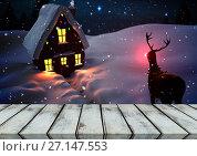 Wooden floor with Christmas theme background. Стоковое фото, агентство Wavebreak Media / Фотобанк Лори