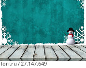Купить «Wooden floor with Christmas theme background», фото № 27147649, снято 21 июля 2019 г. (c) Wavebreak Media / Фотобанк Лори