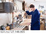 Купить «Working man preparing chipboard for work», фото № 27148865, снято 7 ноября 2016 г. (c) Яков Филимонов / Фотобанк Лори