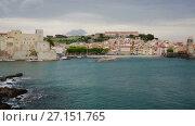 Купить «View of coastal village Collioure at south of France at spring day», видеоролик № 27151765, снято 15 мая 2017 г. (c) Яков Филимонов / Фотобанк Лори