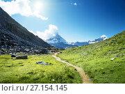 Купить «ground way to Matterhorn peak, Switzerland», фото № 27154145, снято 11 сентября 2017 г. (c) Iakov Kalinin / Фотобанк Лори