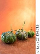 Купить «Натюрморт с тремя спелыми тыквами», фото № 27154713, снято 29 октября 2017 г. (c) V.Ivantsov / Фотобанк Лори