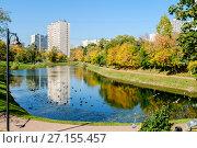 Купить «Москва, Бирюлёво Западное, пруд Подосёлки», фото № 27155457, снято 21 сентября 2015 г. (c) glokaya_kuzdra / Фотобанк Лори
