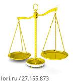 Купить «Balance scale over white background», иллюстрация № 27155873 (c) Кирилл Черезов / Фотобанк Лори