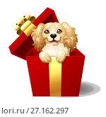 Купить «Милый щенок кокер спаниеля выглядывает из красной подарочной коробки с бантиком. Стилизованная иллюстрация, изолированно на белом», иллюстрация № 27162297 (c) Анастасия Некрасова / Фотобанк Лори