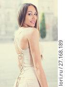 Купить «close-up portrait of young female with long hair in romantic ivory midi gown», фото № 27168189, снято 24 июня 2017 г. (c) Яков Филимонов / Фотобанк Лори