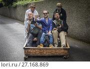 Купить «Carreiros do Monte, Wicker Toboggan Sled Ride from Monte to Funchal, Funchal, Madeira, Portugal.», фото № 27168869, снято 3 июля 2020 г. (c) age Fotostock / Фотобанк Лори