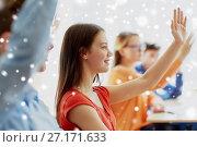 Купить «student girl raising hand at school lesson», фото № 27171633, снято 22 апреля 2016 г. (c) Syda Productions / Фотобанк Лори