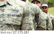 Купить «Group of military soldiers standing with rifles 4k», видеоролик № 27175281, снято 22 мая 2019 г. (c) Wavebreak Media / Фотобанк Лори