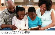 Купить «Family reading a book in living room 4k», видеоролик № 27175409, снято 4 апреля 2020 г. (c) Wavebreak Media / Фотобанк Лори