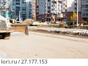 Купить «Реконструкция трамвайных путей на проспекте Наставников. Санкт-Петербург», эксклюзивное фото № 27177153, снято 21 октября 2017 г. (c) Александр Щепин / Фотобанк Лори