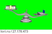 Купить «Pos terminal and money on scale. Isolated 3D render. Green background», видеоролик № 27178473, снято 6 ноября 2017 г. (c) Ильин Сергей / Фотобанк Лори