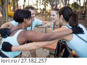 Купить «Fit friends forming huddle», фото № 27182257, снято 9 мая 2017 г. (c) Wavebreak Media / Фотобанк Лори