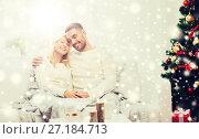 Купить «happy couple at home with christmas tree», фото № 27184713, снято 8 октября 2015 г. (c) Syda Productions / Фотобанк Лори