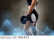 Купить «woman with dumbbell in gym», фото № 27184813, снято 12 декабря 2015 г. (c) Syda Productions / Фотобанк Лори