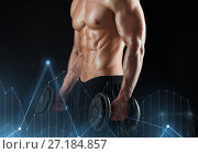Купить «close up of man with dumbbells exercising», фото № 27184857, снято 2 июля 2017 г. (c) Syda Productions / Фотобанк Лори