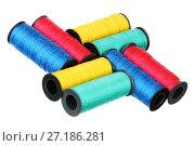 Купить «Восемь катушек с нитками четырех цветов», фото № 27186281, снято 7 апреля 2013 г. (c) Игорь Веснинов / Фотобанк Лори