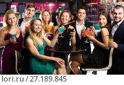 Купить «Females and males celebrating corporate», фото № 27189845, снято 20 апреля 2017 г. (c) Яков Филимонов / Фотобанк Лори