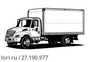 Купить «Truck outline template isolated on white», иллюстрация № 27190977 (c) Александр Володин / Фотобанк Лори