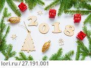 Купить «New Year 2018 background with 2018 figures,Christmas toys, fir branches-New Year 2018 composition», фото № 27191001, снято 30 ноября 2016 г. (c) Зезелина Марина / Фотобанк Лори