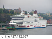 Купить «Круизный морской паром Viking Cinderella крупным планом августовским туманным днем. Стокгольм», фото № 27192637, снято 29 августа 2016 г. (c) Виктор Карасев / Фотобанк Лори