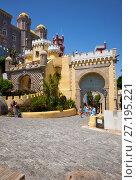 Купить «The main entrance to the Pena Palace. Sintra. Portugal», фото № 27195221, снято 3 июля 2016 г. (c) Serg Zastavkin / Фотобанк Лори