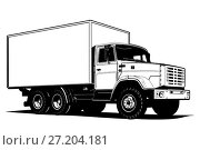 Купить «Truck outline template isolated on white», иллюстрация № 27204181 (c) Александр Володин / Фотобанк Лори