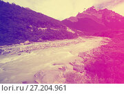 Купить «Stream from melting glaciers in Andes mountains», фото № 27204961, снято 1 февраля 2017 г. (c) Яков Филимонов / Фотобанк Лори