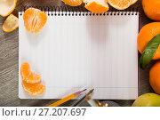 Купить «Notebook with writing utensils», фото № 27207697, снято 20 сентября 2018 г. (c) Яков Филимонов / Фотобанк Лори