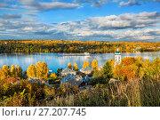Купить «По реке Волге on the Volga River», фото № 27207745, снято 8 октября 2017 г. (c) Baturina Yuliya / Фотобанк Лори