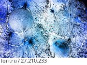 Купить «Christmas and New Year Decoration. Christmas ball hanging on a Christmas tree. Bright garlands», фото № 27210233, снято 6 января 2015 г. (c) Евгений Ткачёв / Фотобанк Лори