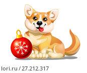 Купить «Милый рыжий щенок породы Вельш Корги сидит около красного новогоднего шара со снежинкой. Иллюстрация в мультипликационном стиле, изолированно на белом фоне.», иллюстрация № 27212317 (c) Анастасия Некрасова / Фотобанк Лори