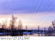 Купить «Power line in the early morning», фото № 27212541, снято 12 марта 2016 г. (c) Евгений Ткачёв / Фотобанк Лори