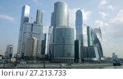 Купить «business complex of moscow city with modern futuristic architecture», видеоролик № 27213733, снято 22 августа 2016 г. (c) Яков Филимонов / Фотобанк Лори