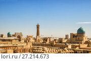 Купить «Top view from the Ark fortress to the Po-i-Kalyan complex, Bukhara, Uzbekistan», фото № 27214673, снято 19 октября 2016 г. (c) Юлия Бабкина / Фотобанк Лори