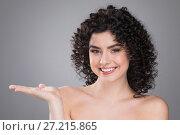 Купить «Beautiful woman with curly hair», фото № 27215865, снято 18 апреля 2017 г. (c) Иван Михайлов / Фотобанк Лори