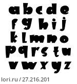 Купить «Vector comic Alphabet. Exclusive Custom Letters. Lettering and Custom Typography for Designs Logo for Poster Invitation, etc. Handwritten brush style modern», иллюстрация № 27216201 (c) Happy Letters / Фотобанк Лори