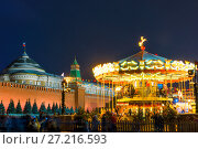 Купить «children's carousel near the Kremlin in Moscow night shot», фото № 27216593, снято 10 декабря 2016 г. (c) Константин Лабунский / Фотобанк Лори