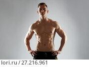 Купить «young man or bodybuilder with bare torso», фото № 27216961, снято 2 июля 2017 г. (c) Syda Productions / Фотобанк Лори