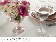 Купить «Beautiful table setting for an occasion», фото № 27217705, снято 14 июня 2017 г. (c) Wavebreak Media / Фотобанк Лори