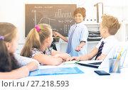 Купить «Teens male about mathematical formulas», фото № 27218593, снято 12 октября 2017 г. (c) Яков Филимонов / Фотобанк Лори