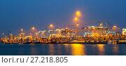 Купить «night panorama of seaport», фото № 27218805, снято 22 ноября 2014 г. (c) Яков Филимонов / Фотобанк Лори