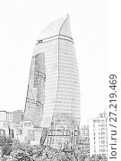 Купить «Flame Towers. Baku. Azerbaijan», иллюстрация № 27219469 (c) Евгений Ткачёв / Фотобанк Лори