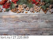 Christmas background on a wooden. Стоковое фото, фотограф Типляшина Евгения / Фотобанк Лори
