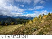 Вид на Альпы осенью с панорамной дороги на горе Гольдек. Земля Каринтия, Австрия (2017 год). Стоковое фото, фотограф Bala-Kate / Фотобанк Лори